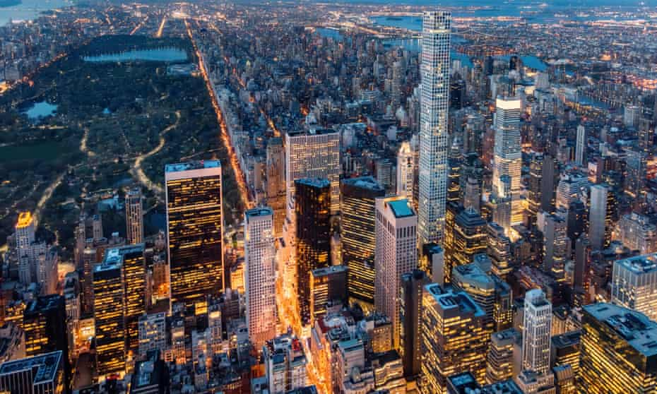 Midtown Manhattan from above at twilight, including 432 Park Avenue.