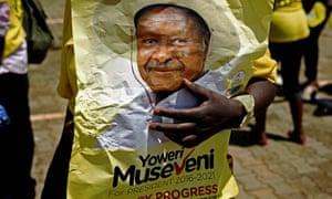 Campaigning for incumbent President Yoweri Museveni to remain in power in Uganda.