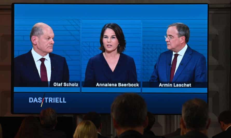 (L-R) Olaf Scholz, Annalena Baerbock and Armin Laschet attend an election TV debate in Berlin on Sunday night.