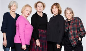 Caryl Churchill, left, with the cast of her 2016 play Escaped Alone.