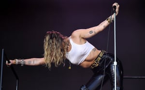 Miley Cyus performing on the Pyramid Stage.