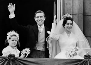 Armstrong-Jones marries Princess Margaret. The bride and bridegroom are pictured on the balcony at Buckingham Palace