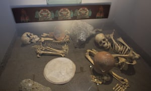 The skeletons of sacrificed Spaniards are displayed inside a glass case at the museum of the Zultepec-Tecoaque archeological site in Tlaxcala state, Mexico.