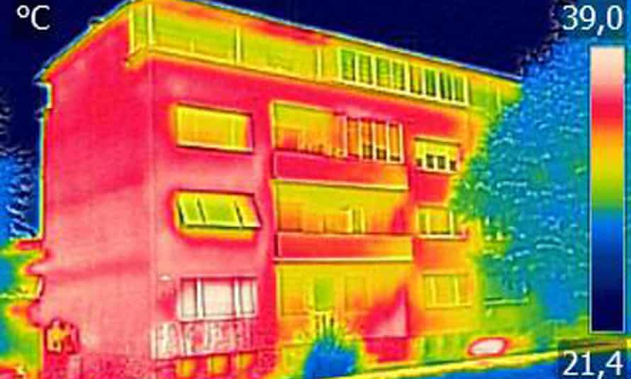 Infrared thermovision image showing lack of thermal insulation