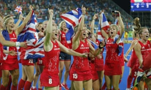 Team GB celebrate after winning gold for hockey at the 2016 Olympics in Rio