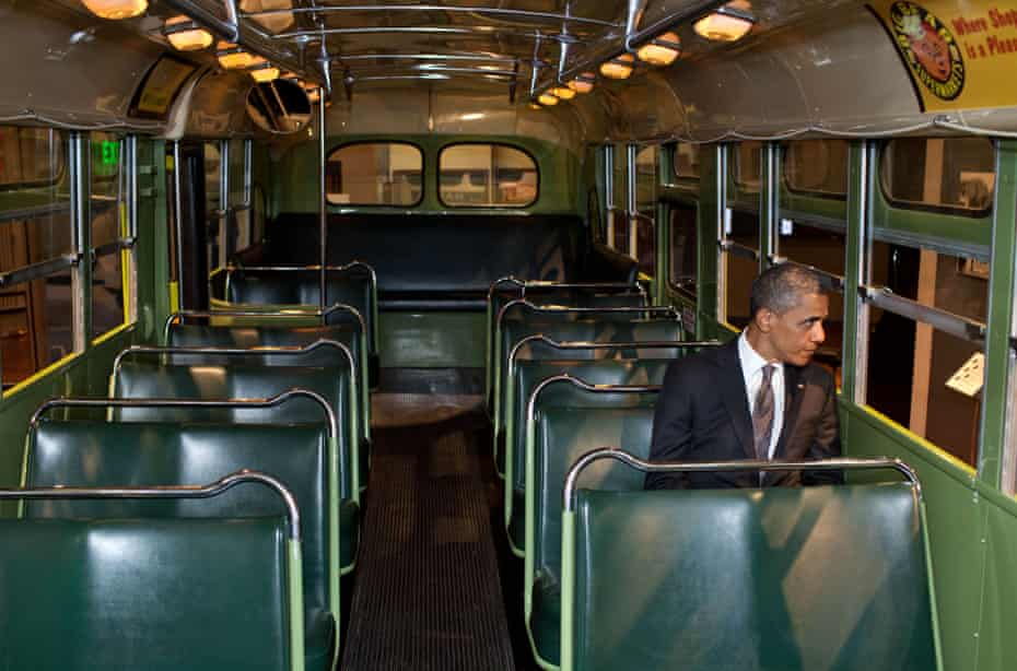 Obama Visits on the Rosa Parks bus at the Henry Ford Museum in Michigan in 2012.