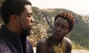 Chadwick Boseman and Lupita Nyong'o in Black Panther.