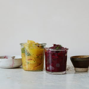 The purple and gold: Quick beetroot pickle with dill, and sweet mustard.