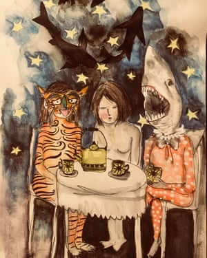 Tiger, Shark and Me sit down for tea