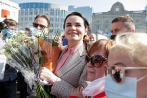 Brussels, Belgium: The Belarusian opposition leader Svetlana Tikhanovskaya attends a protest against the political situation in her country, in front of the European parliament
