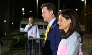 Liberal Democrat leader Nick Clegg and his wife Miriam González Durántez arrive for the count at his constituency in Sheffield. He had earlier claimed his party was going to be the night's surprise success story.