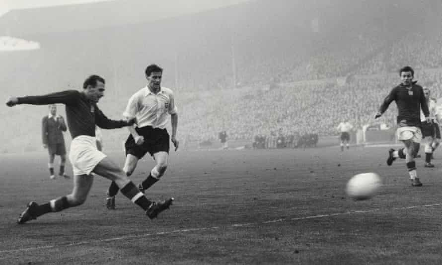 Hungary's false nine Nandor Hidegkuti scores the sixth goal in Hungary's famous 6-3 win over England at Wembley in 1953.