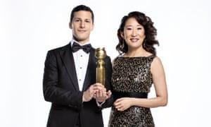 Sandra Oh with co-host Andy Samberg.