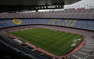 The match between Barcelona and Las Palmas is played at a fan-less Camp Nou.