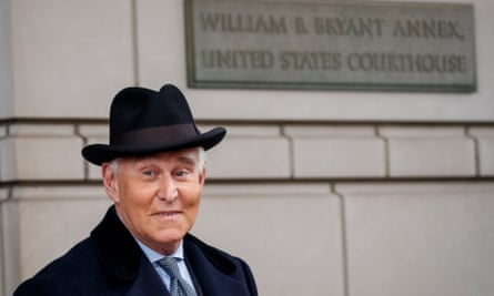 Roger Stone departs after being sentenced to 40 months during his hearing at the federal district court in Washington DC.