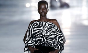 Adut Akech closes the Saint Laurent spring summer 2018 show at Paris fashion week