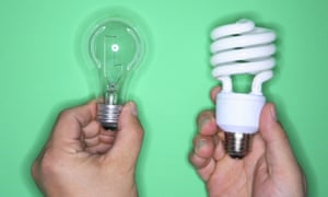 Traditional and energy efficient lightbulbs