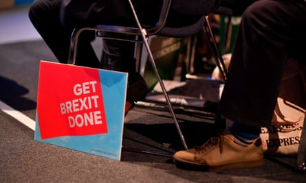 """BRITAIN-EU-POLITICS-BREXIT-CONSERVATIVE-CONFERENCEA """"Get Brexit Done"""" sign is seen on the floor in the main auditorium on the second day of the annual Conservative Party conference at the Manchester Central convention complex in Manchester, north-west England on September 30, 2019. - British Prime Minister Boris Johnson's office has denied allegations he made unwanted sexual advances towards two women 20 years ago. Journalist Charlotte Edwardes wrote in a column for The Sunday Times that Johnson put his hand on her thigh at a dinner party thrown by the magazine he was editing at the time. (Photo by Ben STANSALL / AFP)BEN STANSALL/AFP/Getty Images"""