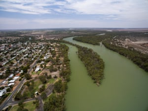 The confluence of the Murray (right) and Darling rivers at Wentworth in NSW