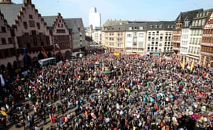 Blockupy protesters rally in the centre of the city
