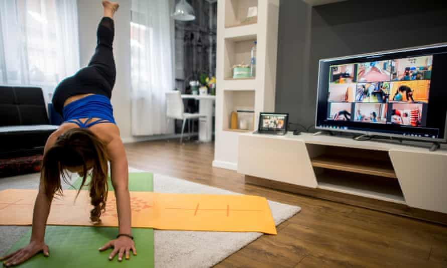 A yoga training session during Coronavirus lockdown