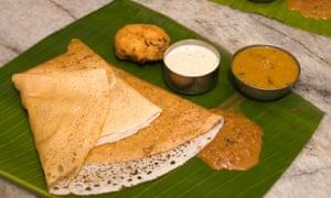 South Indian breakfast: dosa, sambar, chutney and vadai (snacks).