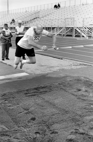 The standing long jump (ages 80 to 85), Senior Olympics, Tempe, 1997.
