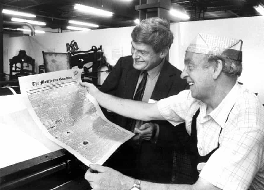 Former Guardian editor Peter Preston with newly printed copy of the first Guardian front page.