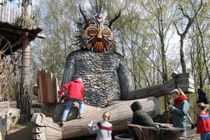 Boom, Belgium. Giant wooden sculptures, crafted by the recycling artist Thomas Dambo, in De Schorre Park