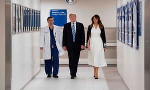 Donald Trump with doctor Igor Nichiphorenko and the First Lady visiting first responders at Broward Health North hospital in Pompano Beach, Florida.