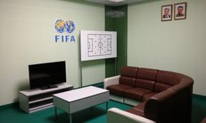 The Fifa logo in the restored stadium.