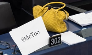 """A handbag and placard with the hashtag """"MeToo"""" during a debate to discuss sexual harassment in the EU at the European parliament in Strasbourg, France."""