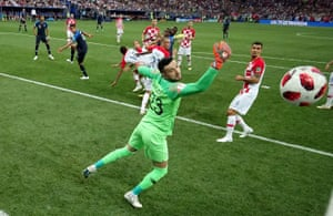 Mario Mandzukic heads into his own goal to give France the lead in the final.