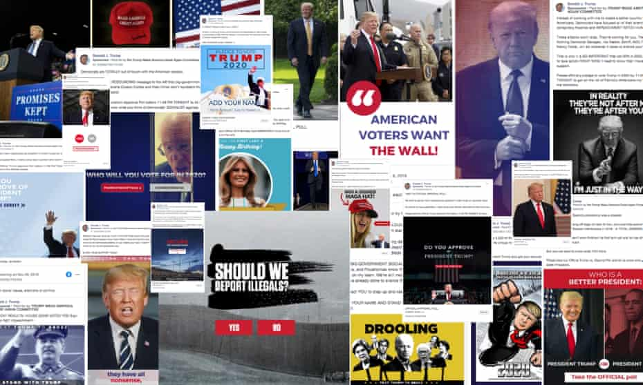 A collage of Trump's Facebook ads ahead of 2020 election.
