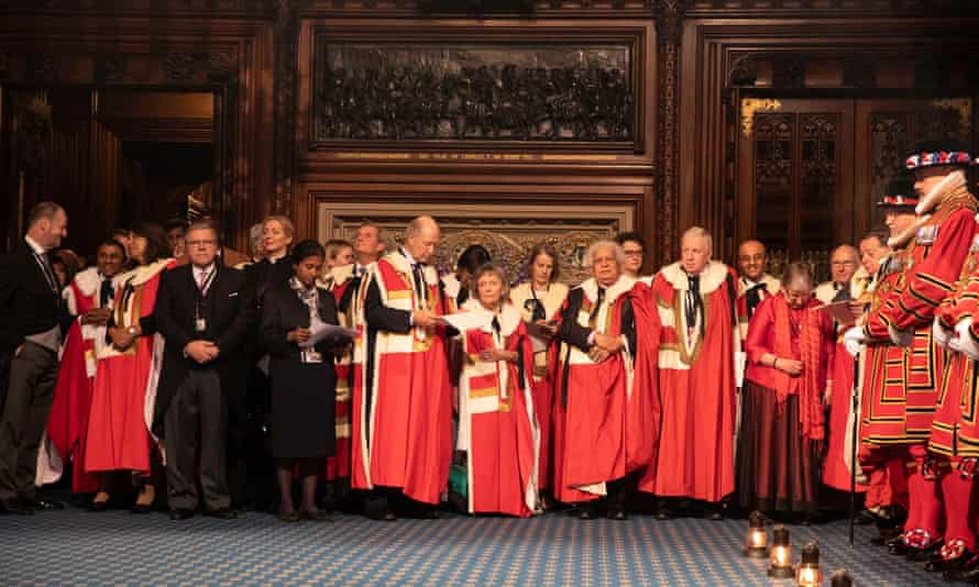 Members of the House of Lords ahead of the state opening of parliament