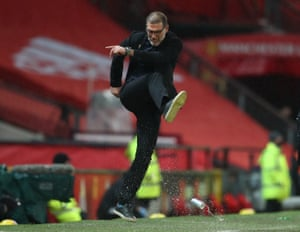 West Bromwich Albion manager Slaven Bilic kicks a can of drink.