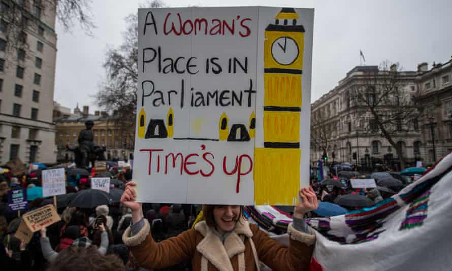 Women's rights demonstrators at a Time's Up rally opposite Downing Street in London
