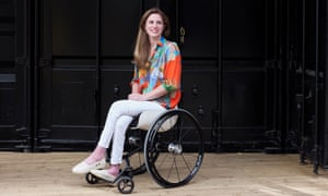 Rachel Wallach from Disrupt Disability, in one of her prototype wheelchairs.