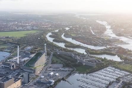 Amager Resource Centre, Copenhagen, aerial view.