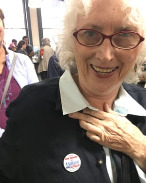 Hillary Clinton supporter Linda Webb shows off her supporters' badge.