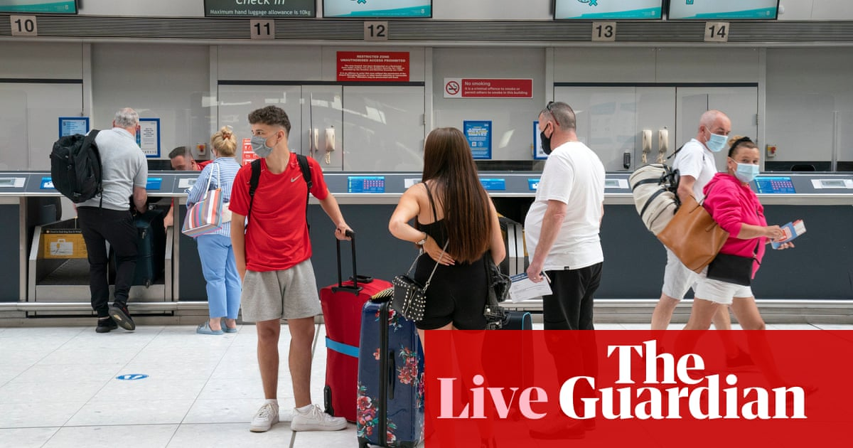 Coronavirus live: UK airports set for busiest weekend since pandemic; clashes at Sydney anti-lockdown protests
