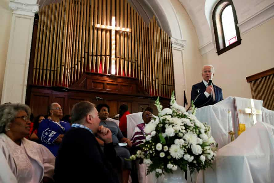 Former vice-president Joe Biden speaks during a commemoration ceremony for the 55th anniversary of the Bloody Sunday march at Brown Chapel AME Church in Selma on Sunday.