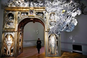 """""""Paper Arch"""" by Michael Garlington and Natalia Bertotti is seen during a preview of the No Spectators: The Art of Burning Man exhibition at the Renwick Gallery in Washington, DC on March 29, 2018. The show brings artwork from the Nevada desert gathering to Washington for the first time. The exhibition runs from March 30, 2018 to January 21, 2019. / AFP PHOTO / Mandel NGAN / RESTRICTED TO EDITORIAL USE - MANDATORY MENTION OF THE ARTIST UPON PUBLICATION - TO ILLUSTRATE THE EVENT AS SPECIFIED IN THE CAPTIONMANDEL NGAN/AFP/Getty Images"""