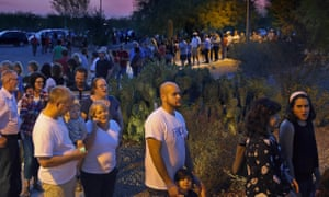 In Chandler, Arizona, voters wait in a long line to cast their ballot in the primary election.