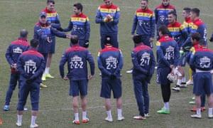 Romania's manager Anghel Iordanescu