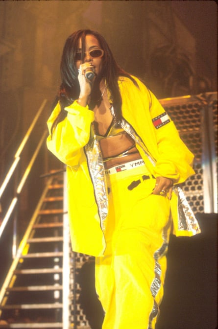 Aaliyah on stage in 1997.