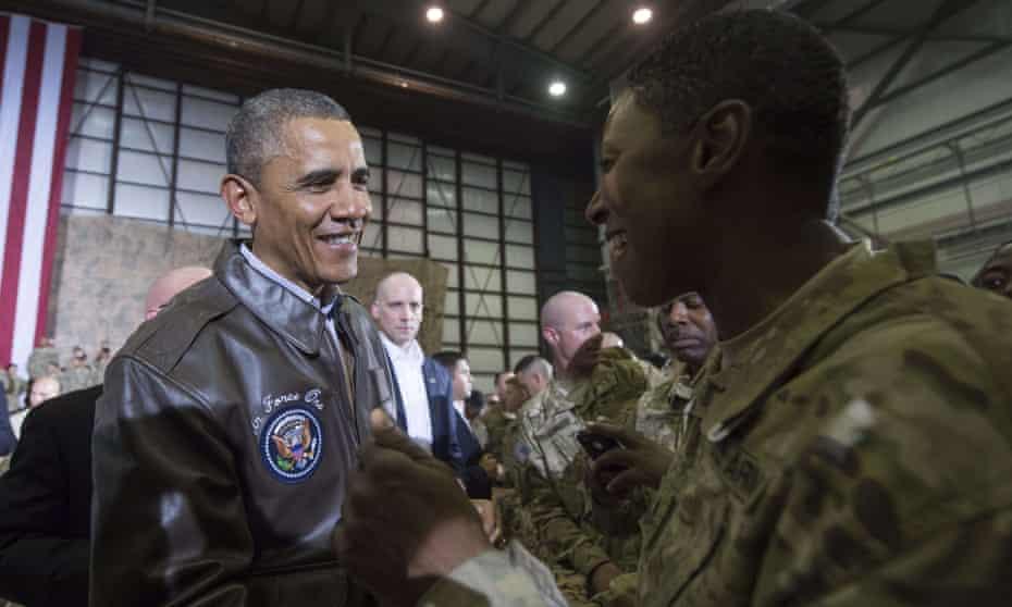Barack Obama at Bagram airfield in 2014