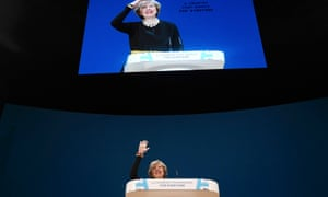 Theresa May speaks at the annual Conservative party conference in Birmingham.