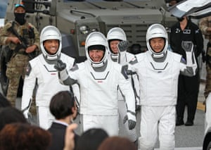 NASA astronauts Mike Hopkins, Victor Glover, and Shannon Walker, and astronaut Soichi Noguchi of the Japan Aerospace Exploration Agency.