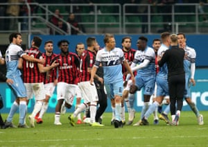 Milan and Lazio players after the game.